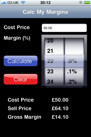 Calc My Margins - iPhone screenshot